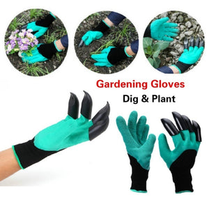 2018 New 1 Pair Diging and Planting Gloves Green Garden Gloves with Fingertips Claws.