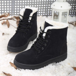 Winter Snow Boots Women Short Boots Warm Women's Boots Flat Ankle Boots Plus Size 43