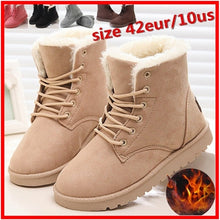 Load image into Gallery viewer, Women's Ladies Flat Lace Up Fur Lined Winter Martin Boots Snow Ankle Boots Shoes