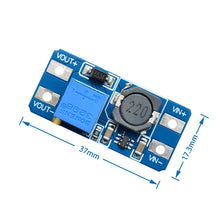 Load image into Gallery viewer, 5pcs/lot MT3608 DC-DC Adjustable Boost Module 2A Boost Plate 2A Step Up Module with MICRO USB 2V - 24V to 5V 9V 12V 28V LM2577