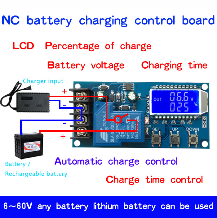 6-60v 30A 10A Lead-acid Solar Battery Charge Controller Protection Board charger Time switch 12v 24v 36v 48v battery capacity