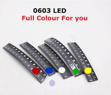 Load image into Gallery viewer, Free Ship 100PCS Small red lamp beads 0603 SMD LED 0603 RED Light-emitting diodes Yellow Green Warm White Blue Orange purple