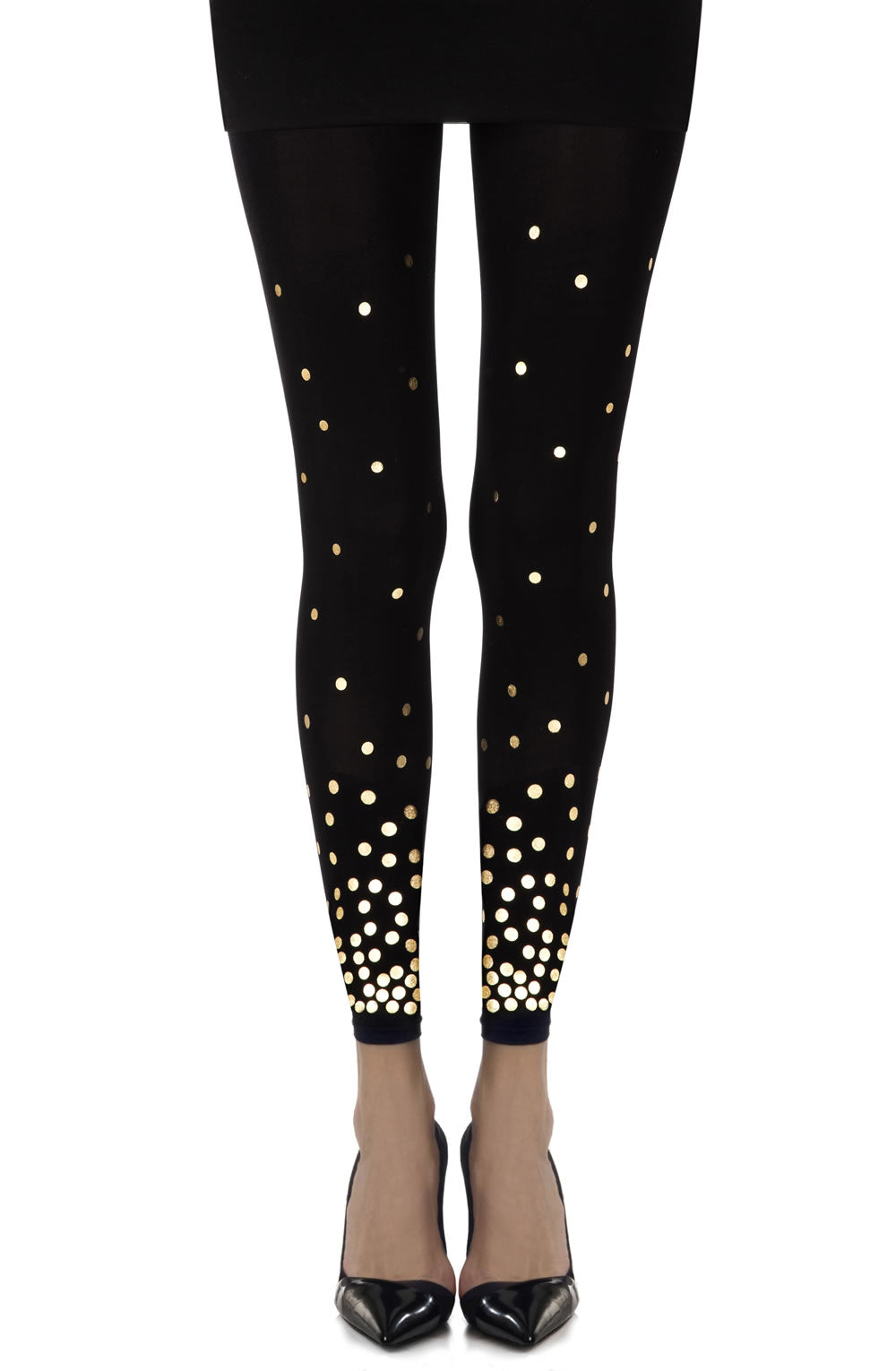 "Zohara ""You've Got A Point"" Black Print Footless Tights"