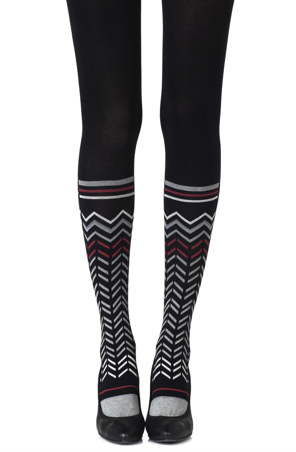 "Zohara ""Zig Zag Walk"" Black Print Tights"