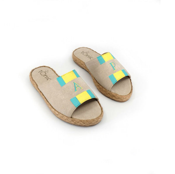 Summer (Toddler) - Bone with Mint Green/Yellow Stripe