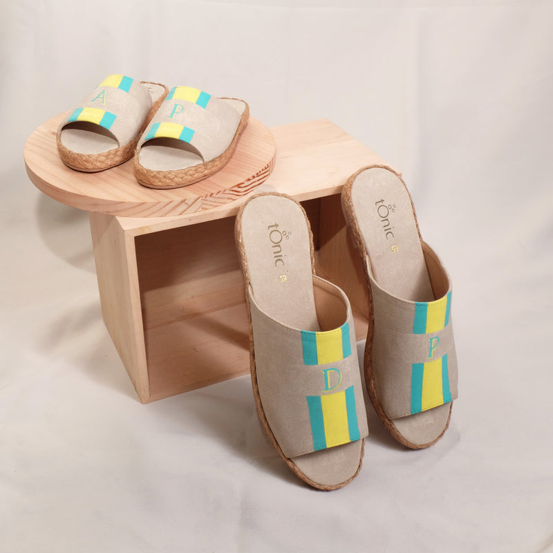 Summer (Adult) - Bone with Mint Green/Yellow Stripe