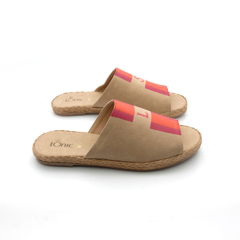 Summer (Toddler) - Beige with Pink/Orange Stripe