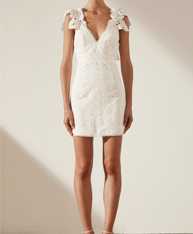 Shona Joy Viola Cotton Lace Cocktail Mini Dress