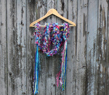 Load image into Gallery viewer, Braided Lariat Scarf - Turquoise Noise