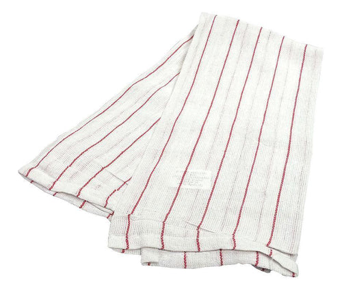 Lintless Red Pin Stripe Glass Towel