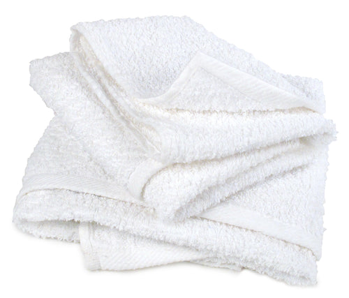 Pro-Clean Basics:  Sanitized Anti-Bacterial Terry Cloth Rags - White