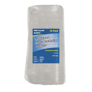 Pro-Clean Basics: Sanitized Anti-Bacterial White Wiping Towel, 15in x 25in