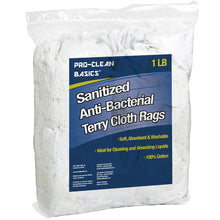 Load image into Gallery viewer, Pro-Clean Basics:  Sanitized Anti-Bacterial Terry Cloth Rags - White