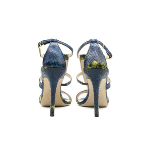 Amina High Heeled Sandal Blue Python