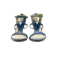 Load image into Gallery viewer, Amina High Heeled Sandal Blue Python