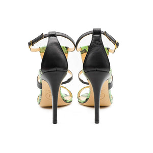 Green Amina Python High Heeled Sandal - Back