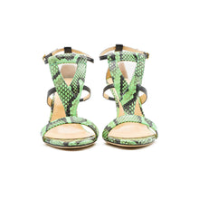 Load image into Gallery viewer, Green Amina Python High Heeled Sandal