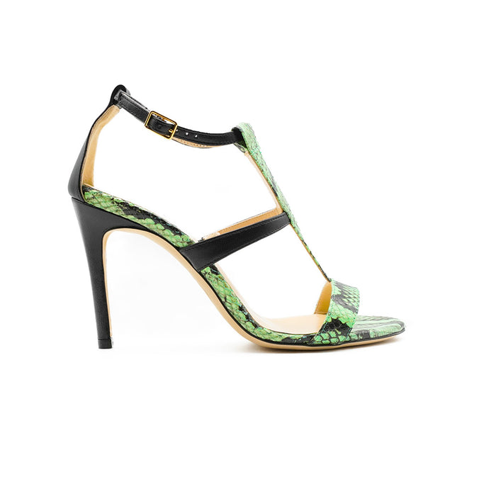 Green Amina Python High Heeled Sandal