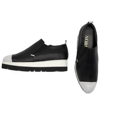 Mino Slip-On Sneaker Black with White Toe Cap Sneakers