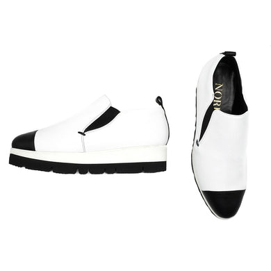 Mino Slip-On Sneaker White with Black Toe Cap Sneakers