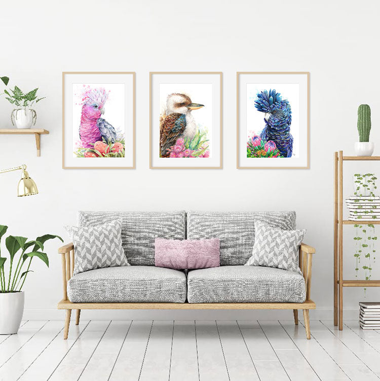 Pink Galah and Banksias Print