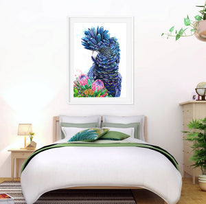 Australian Bird Art Print, Black Cockatoo Artwork, Protea Print