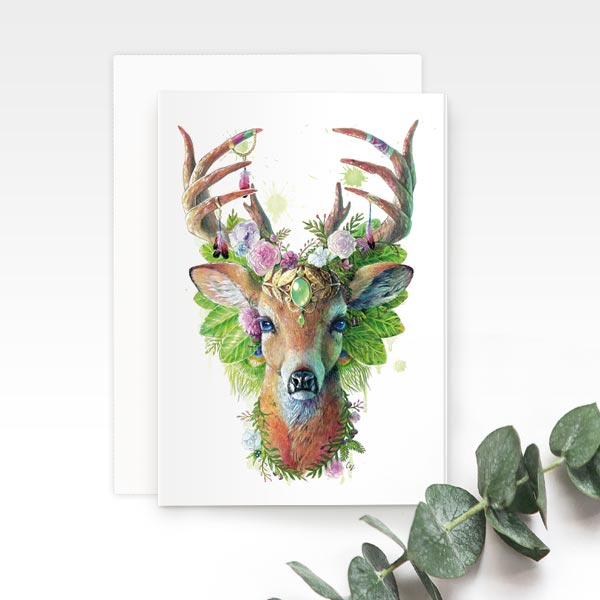 Bohemian Deer Greeting Card