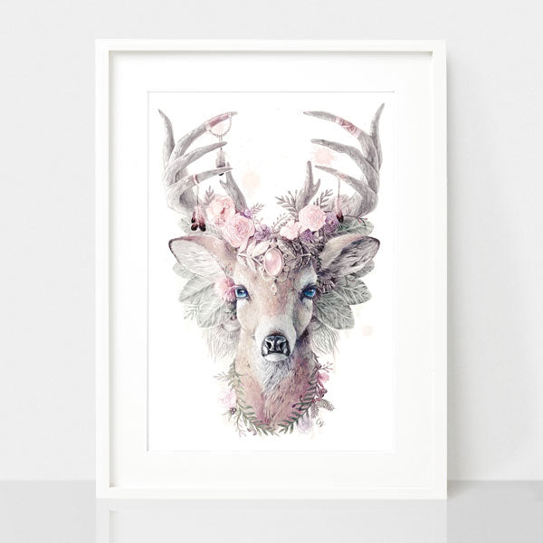 Deer Dusty Pink Nursery Art Print