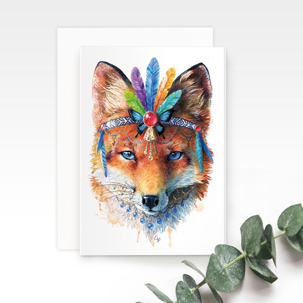 Bohemian Fox Greeting Card