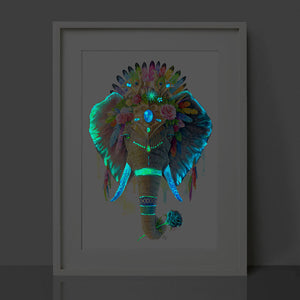 Glow in the Dark Elephant Print