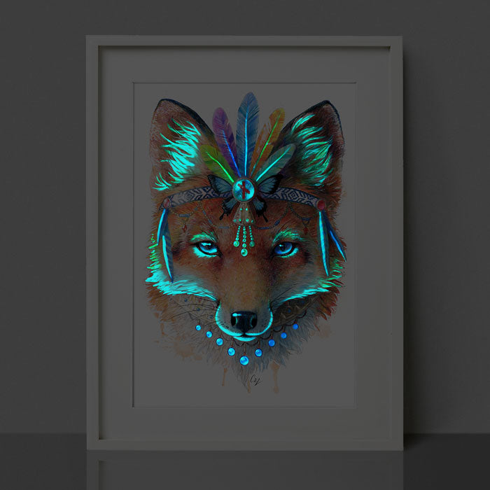 Glow in the Dark Fox Print