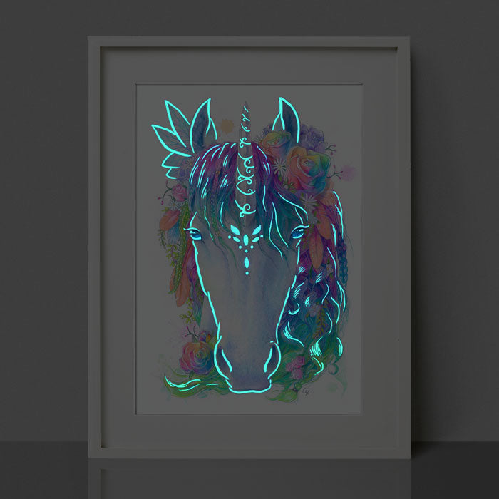 Glow in the Dark Unicorn Print