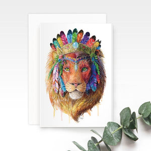 Bohemian Lion Greeting Card