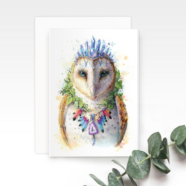 Bohemian Owl Greeting Card