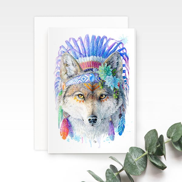 Bohemian Wolf Greeting Card
