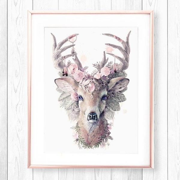 Magical Enchanting Pink Deer Artwork Nursery Girls Flower Art Print