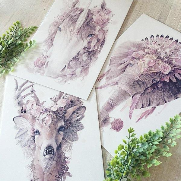 Floral Unicorn - Dusty Pink Print