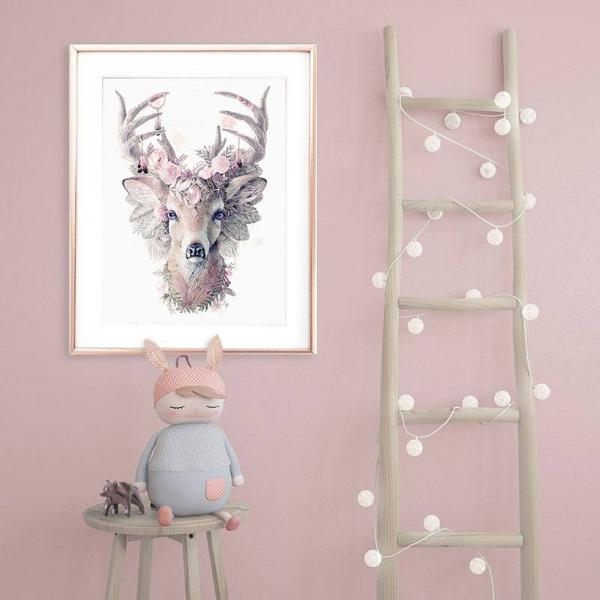 Art for Little Girls Room, Pink Deer Print, Bambi Print, Floral Art Print