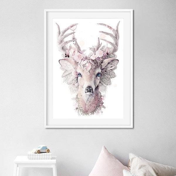Large Stag Print, Pink Decorated Deer Artwork