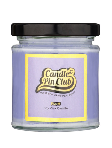 PLUM: Soy Wax Candle with Enamel Pin.