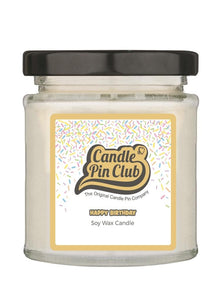 HAPPY BIRTHDAY: Soy Wax Candle with Enamel Pin.