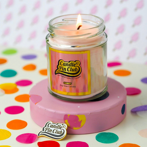 CANDY: Soy Wax Candle with Enamel Pin.