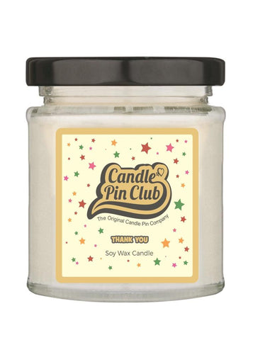 THANK YOU: Soy Wax Candle with Enamel Pin.