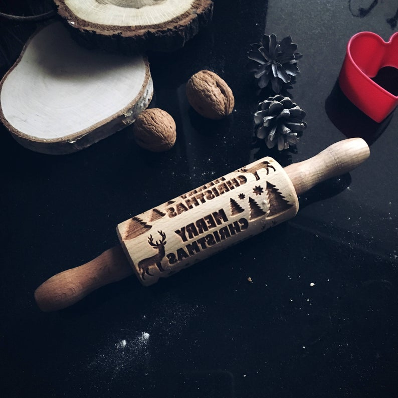 REINDEER in the FOREST KIDS ROLLING PIN - pastrymade