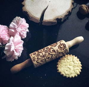 FOLK FLOWERS KIDS ROLLING PIN - pastrymade
