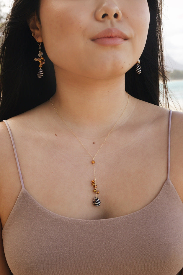 Pearl & Pyrene Shell Lariat Necklace 1
