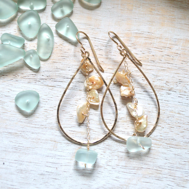 Keshi Pearl & Sea Glass Teardrop Earrings 1