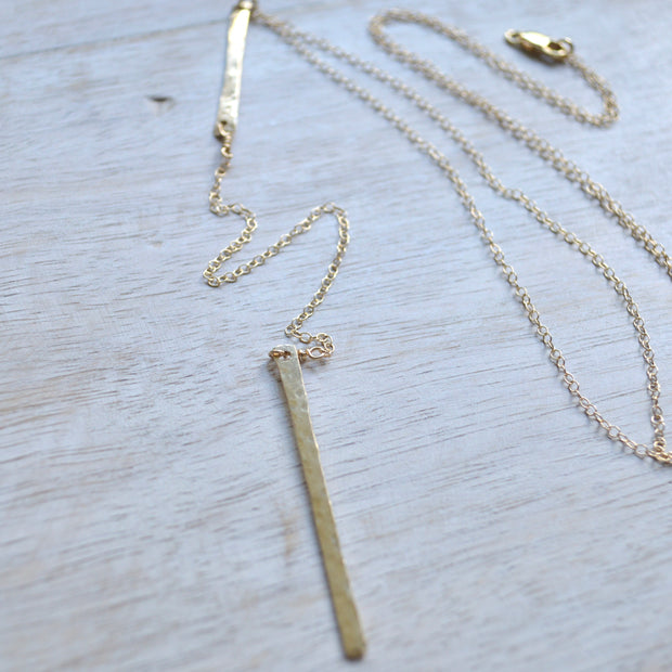 Vertical Double Bar Necklace in Gold 1