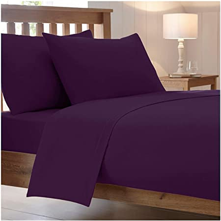 Catherine Lansfield, Combed Percale Non-Iron Sheeting, Plum, 3 sizes