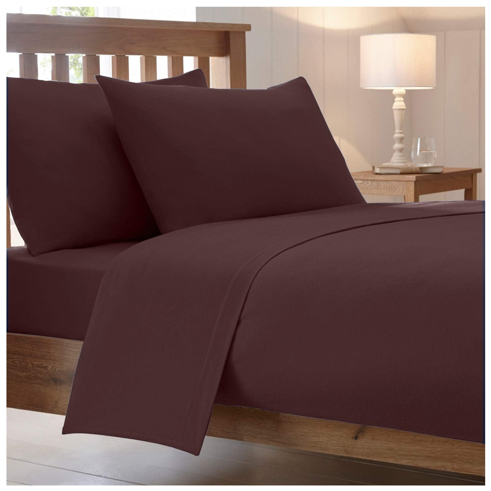 Catherine Lansfield, Combed Percale Non-Iron Sheeting, Chocolate, 3 sizes